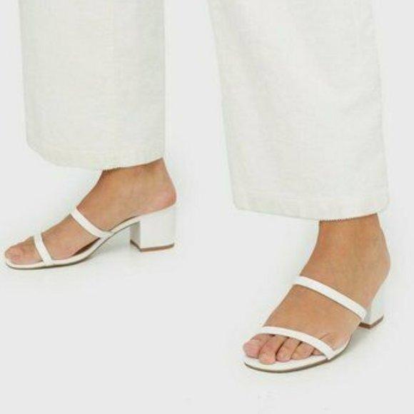 Steve Madden Issy White Croc Block Heel
